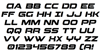 Beam Weapon Italic Font Letters Charmap