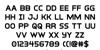 Inter-Bureau Bold Font Letters Charmap