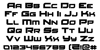 Red Rocket Font Letters Charmap