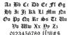 Cloister Black Light Font Letters Charmap