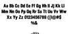 GryphonRock Font Letters Charmap