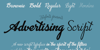 Advertising Script Font text design