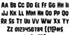 Leatherface Regular Font Letters Charmap