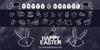 HAPPY EASTER Font cartoon blackboard