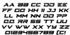 Cyberdyne Italic Font Letters Charmap