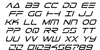 Tele-Marines Italic Font Letters Charmap