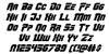 OmegaForce Italic Font Letters Charmap