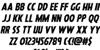 Hanging Tree Italic Font Letters Charmap