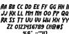 Flash Rogers Font Letters Charmap