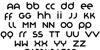 Organo Font Letters Charmap
