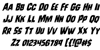 Leatherface Rotalic Font Letters Charmap