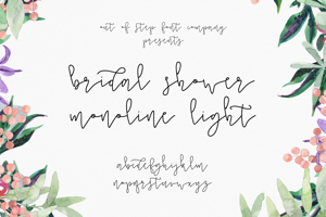 Bridal Shower Monoline Script Light