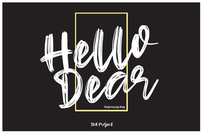 Hello Dear Font poster