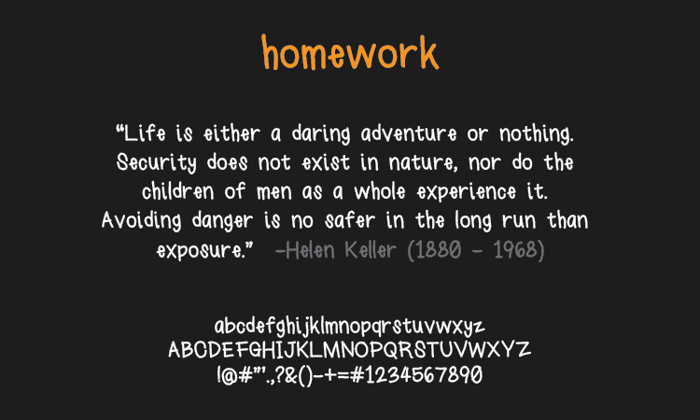 homework Font poster