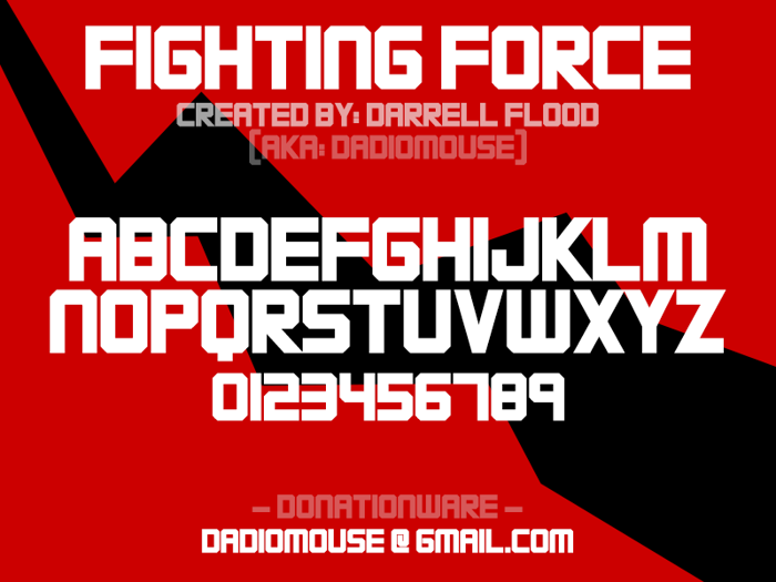 FIGHTING FORCE Font poster