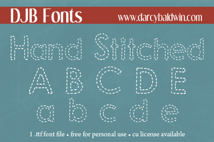 DJB Hand Stitched Alpha Font poster