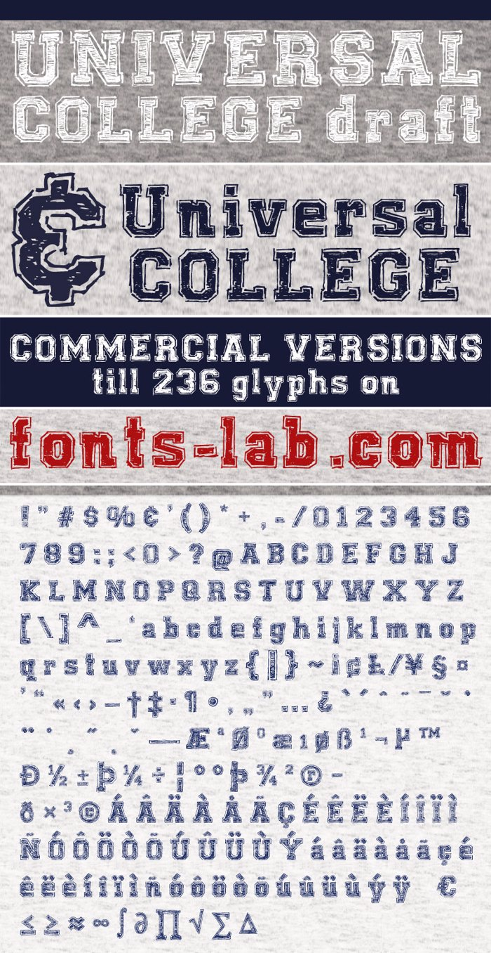 UNIVERSAL-COLLEGE-draft Font poster