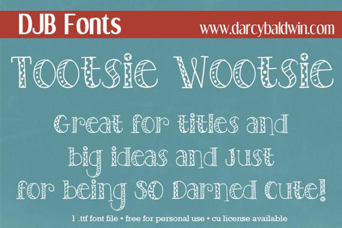 DJB TOOTSIEWOOTSIE Font poster