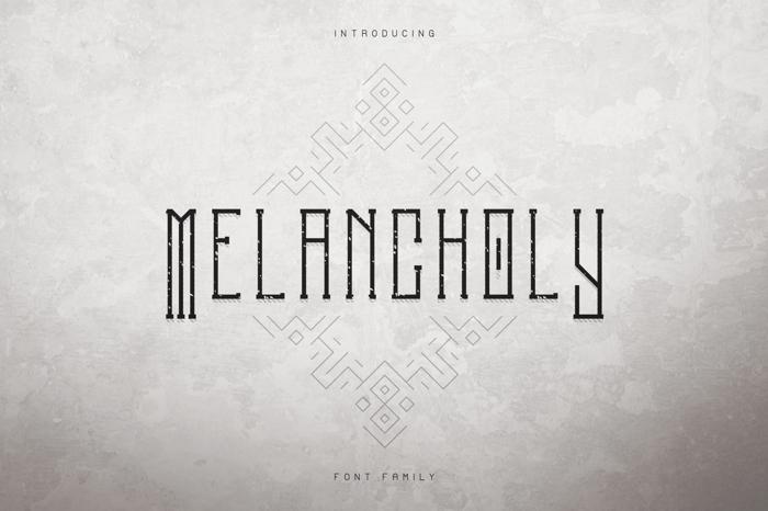 Melancholy Outline Font poster