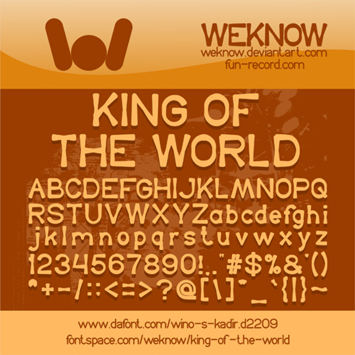 King Of The World Font poster