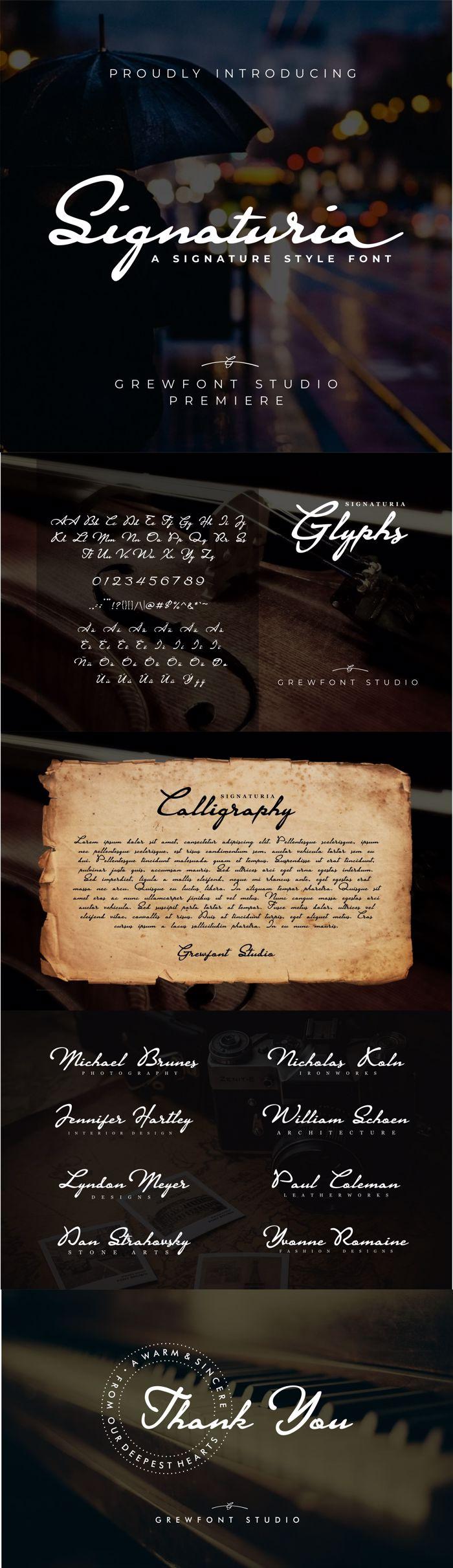 Signaturia Font poster
