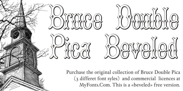 BruceDoublePica Beveled Font poster