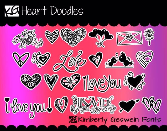 KG Heart Doodles Font poster
