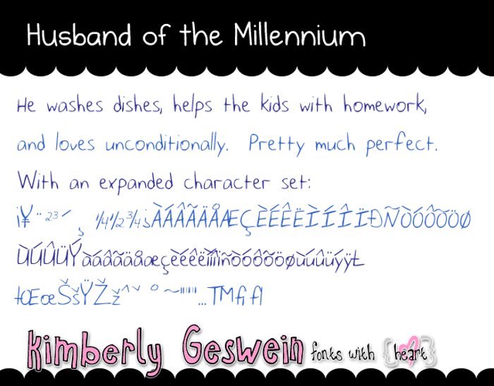 Husband of the Millennium Font poster