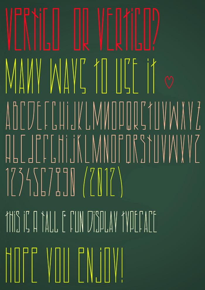 Vertigo Font poster