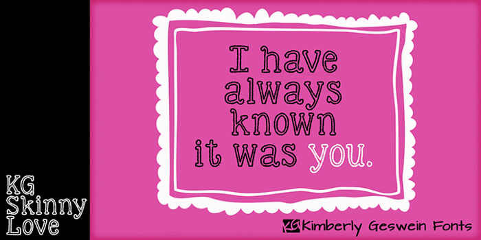 KG Skinny Love Font poster