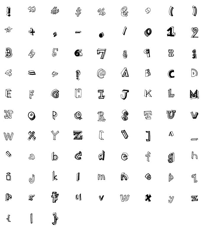 High School Notebook 3d Font poster