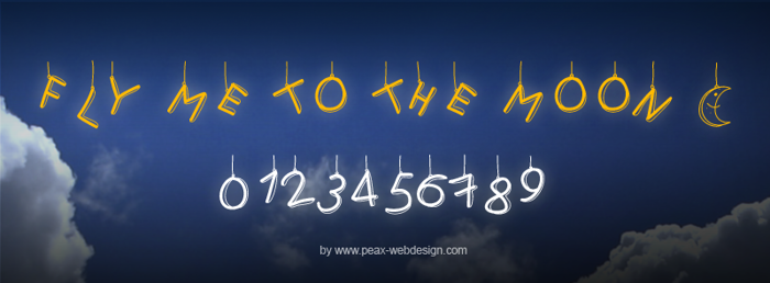 PWFlymetothemoon Font poster