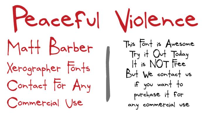 PeacefulViolence Font poster