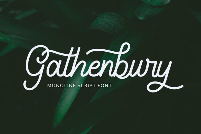 Gathenbury Monoline Script Font poster