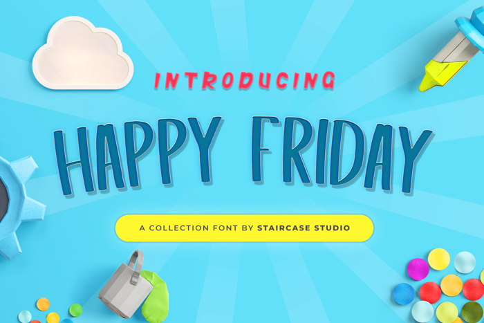 Happy Friday Font poster