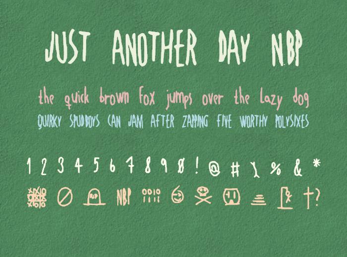 JustAnotherDayNBP Font poster
