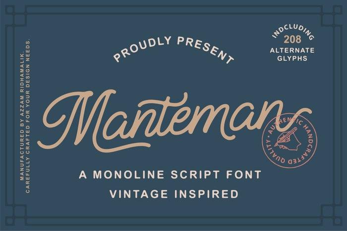 Manteman Font poster