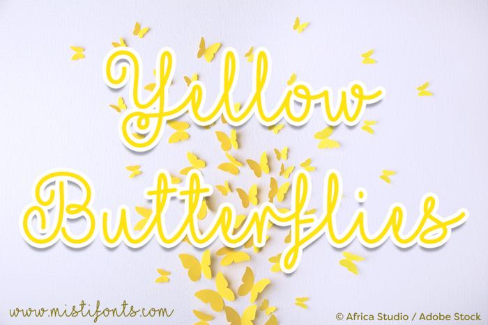 Mf Yellow Butterflies Font poster
