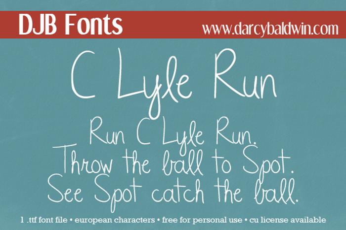 DJB CLyleRun Font poster