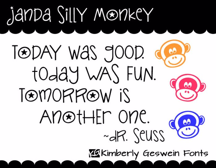 Janda Silly Monkey Font poster
