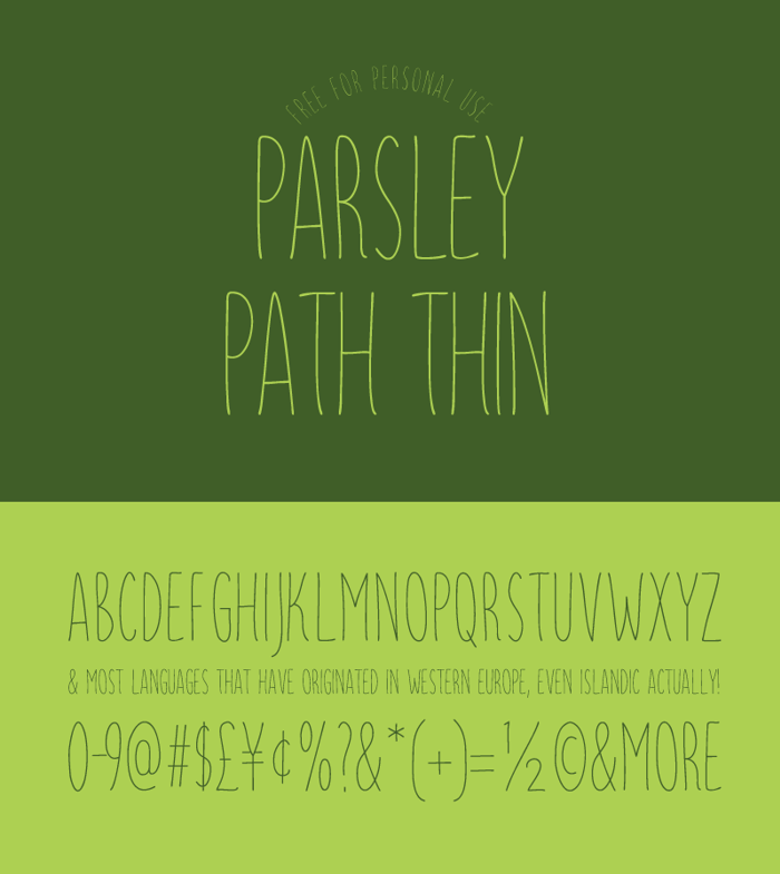 Parsley Path Thin Font poster