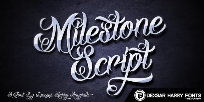DHF Milestone Script Demo Font poster
