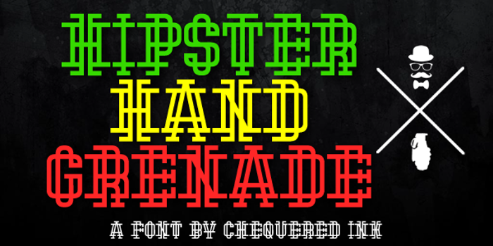 Hipster Hand Grenade Font poster