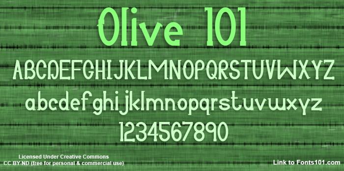 Olive 101 Font poster