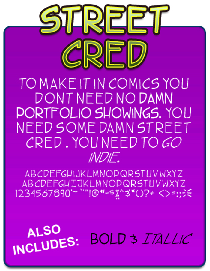 TBS street cred Font poster
