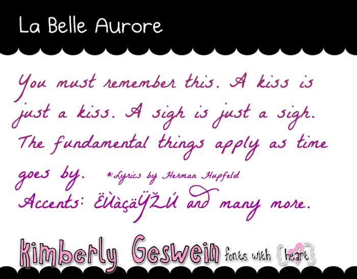 La Belle Aurore Font poster