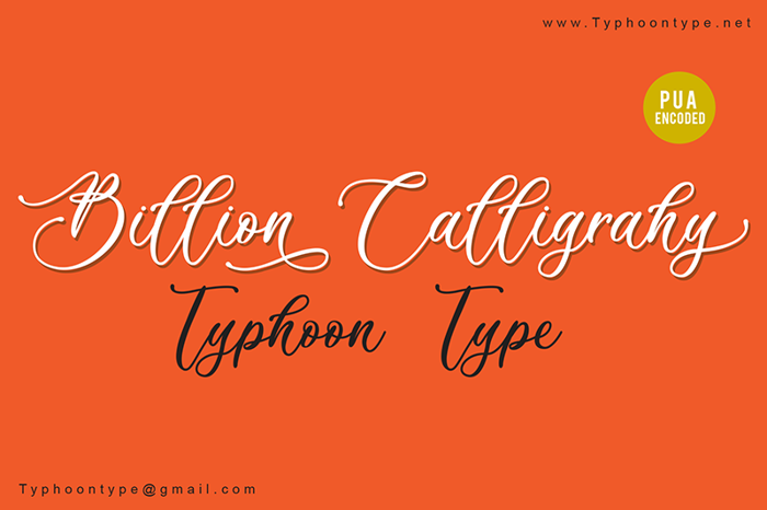 Billion Calligraphy Font poster