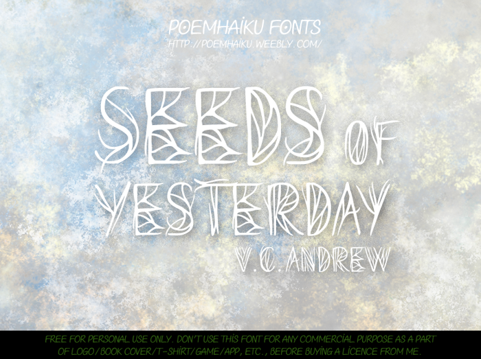 Seeds of Yesterday Font poster