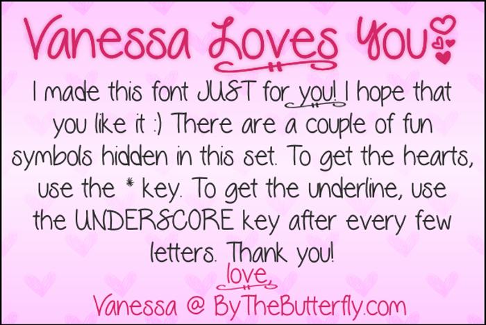VanessaLovesYou Font poster