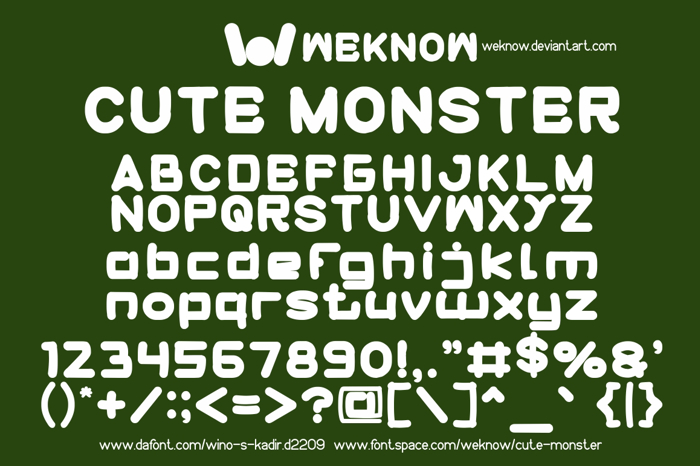 cute monster Font poster